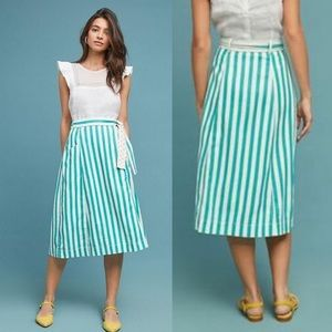 🆕NWT Anthropologie striped wrap midi skirt